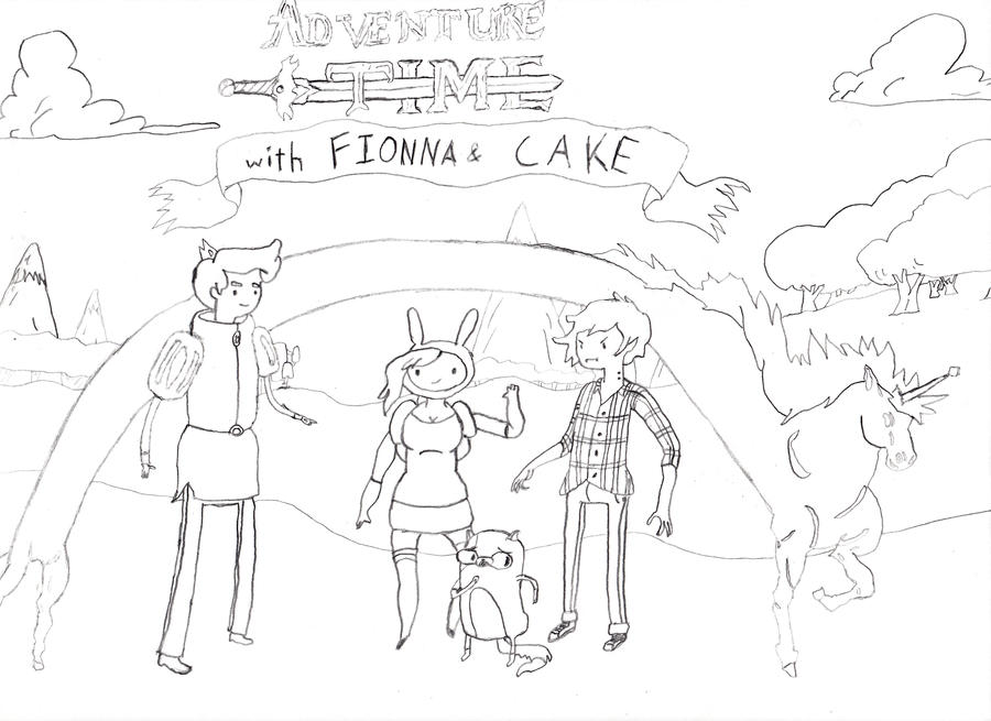 Adventure Time Coloring Pages Fionna And Cake Pin out line drawing    Adventure Time Coloring Pages Fionna And Cake