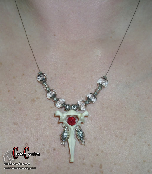 Red Vertebrae Necklace by SkullGrrl