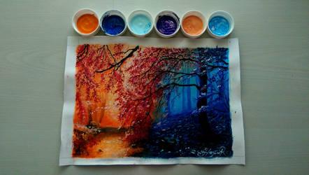 Day-night forest by RuxandraHuzum