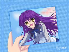 Erika holding her photo by Draugurok