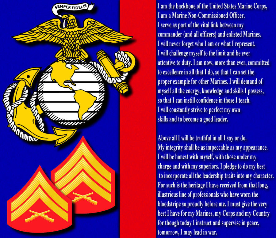 the modern nco in the marine The modern nco the embodiment of history and tradition one it is a number by itself it is nothing it can be insignificant in a sea of billions, hardly worth a second glance or it could be the most important factor, the difference between life and death the marine nco is that one he is the one .