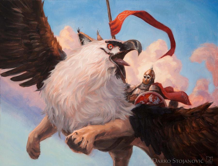 Flight of griffins by Darko-Stojanovic-Art
