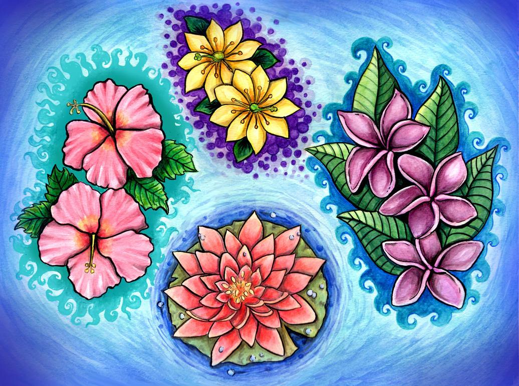 Tropical Flower Tattoos by grrrlytattooer on DeviantArt