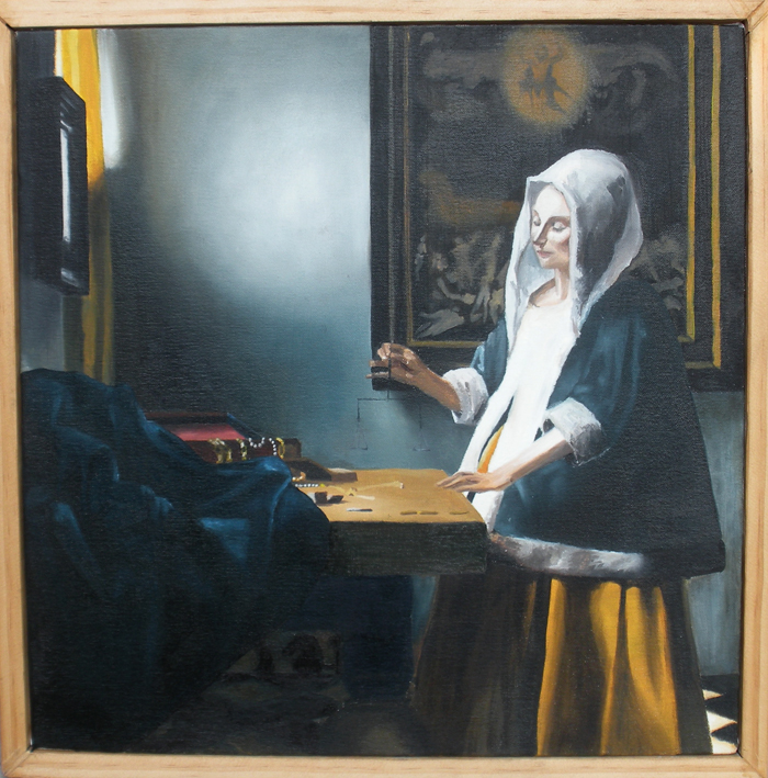 Woman Holding A Balance by KaitentouVermeer Woman Holding A Balance