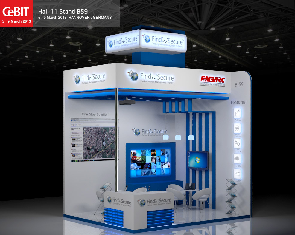 interactive photo booth ideas - 3D Exhibition stand design for CeBit 2013 by Manindar on