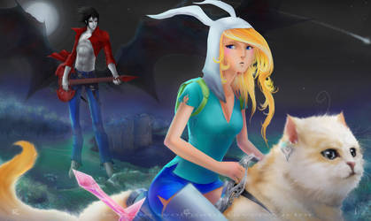 Advent Time: Fionna, Cake and Marshall Lee by wolfgangraven