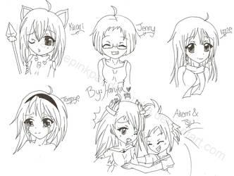 .10 Sketch Requests 5-10. by AnimePinkPandaHaruka