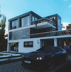 BMW6 and modern house