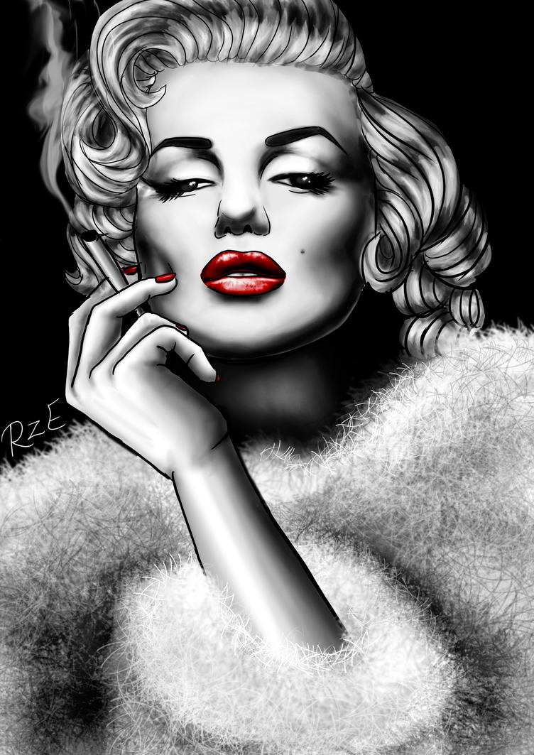 Marilyn Monroe Black And White With Red Lips Canvas Wall
