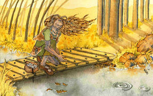 Troll Daughter Skimming Stones by erinclaireb