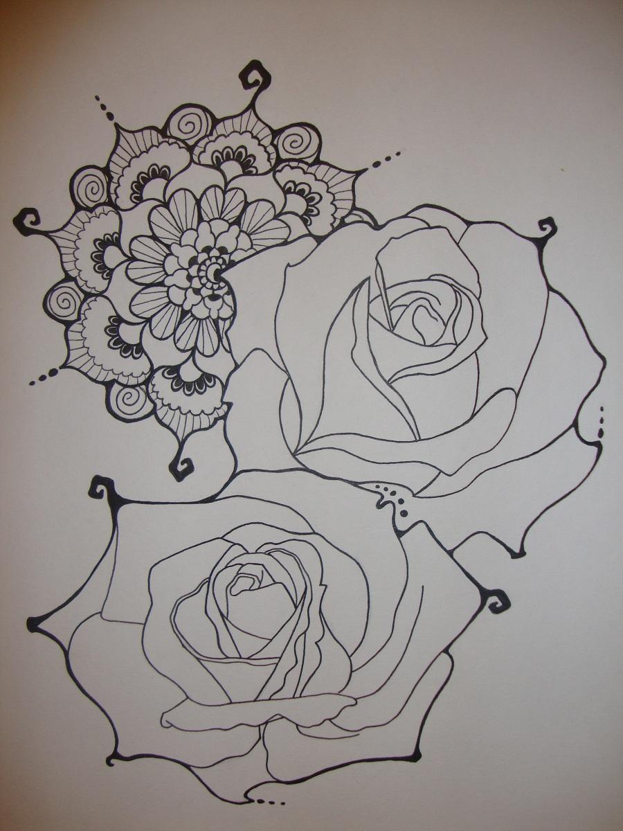 Henna black rose for Rose henna tattoo