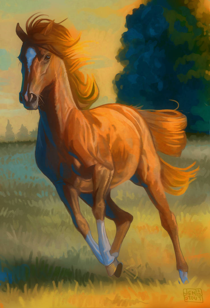Orange and Blue Gallop by Wren-Stout