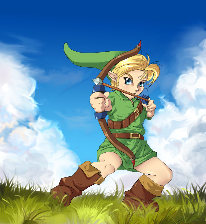Young Link: Bow and Arrow by JenPenJen