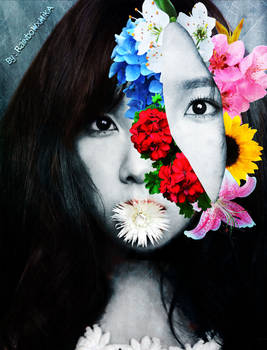 Taeyeon - Retrato Floral Surrealista (Black ver.)