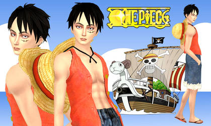 Wallpaper - Monkey D. Luffy (Sims 4) ver.