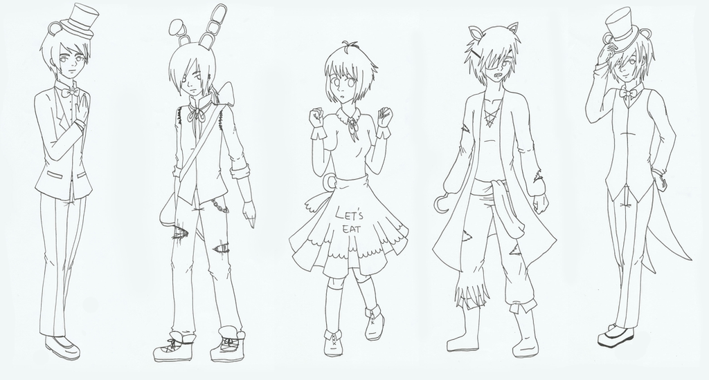 Five nights at freddy 39 s by naimazai on deviantart for Fnaf anime coloring pages