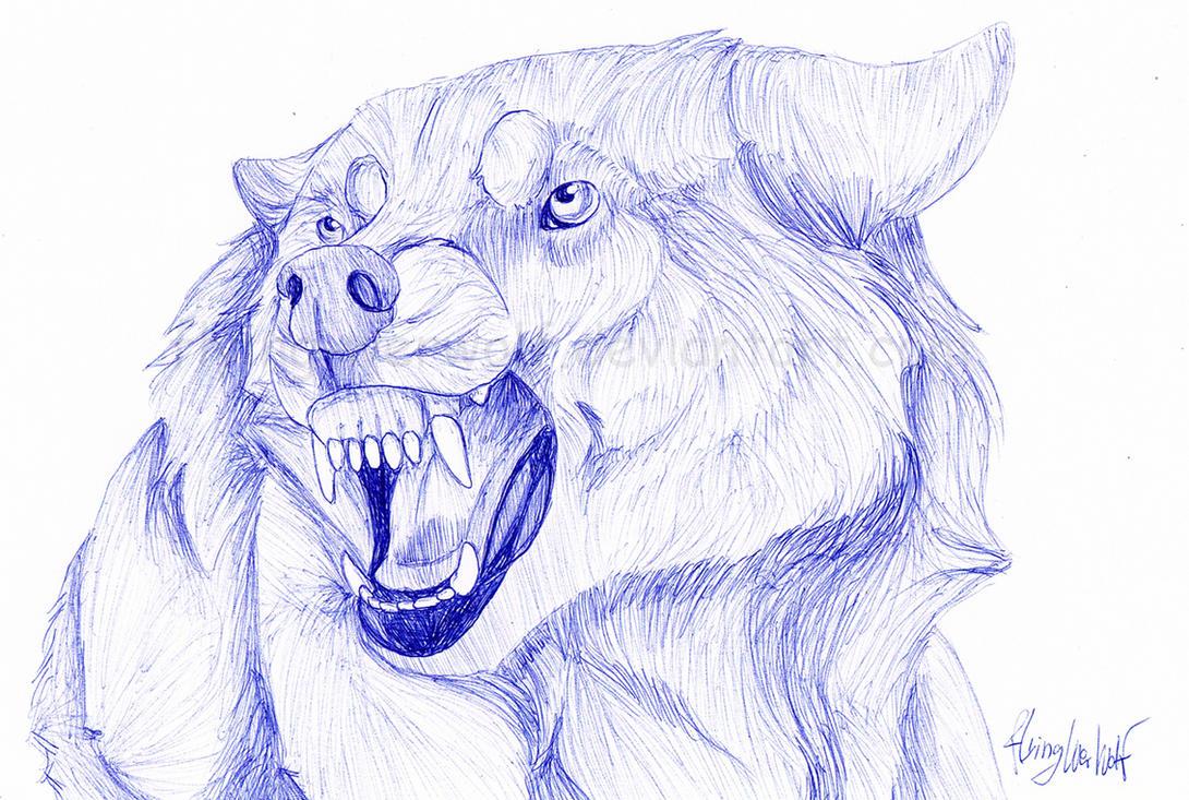 Wolf Snarl Ballpen By Nathalienova