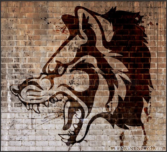 Wolf Snarl Head Tribal by NathalieNova