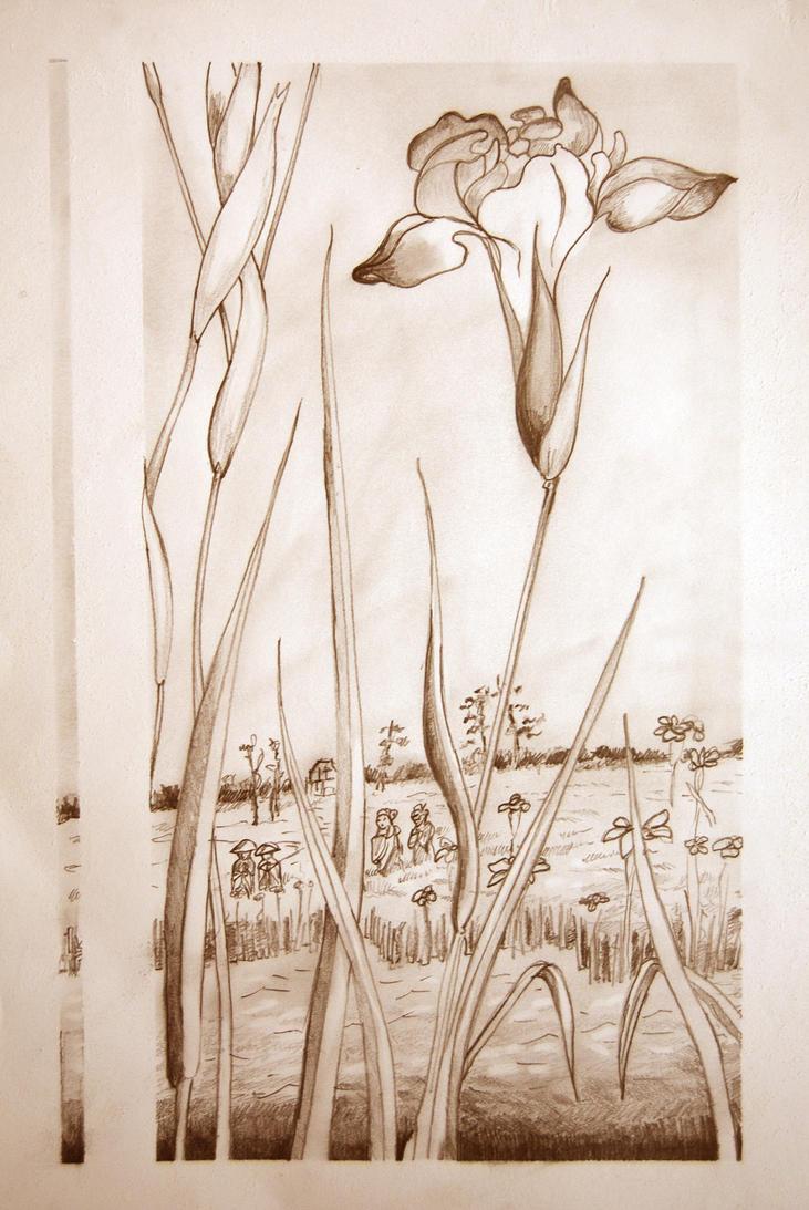 Iris Garden at Horikiri Final Sketch by mr-macd