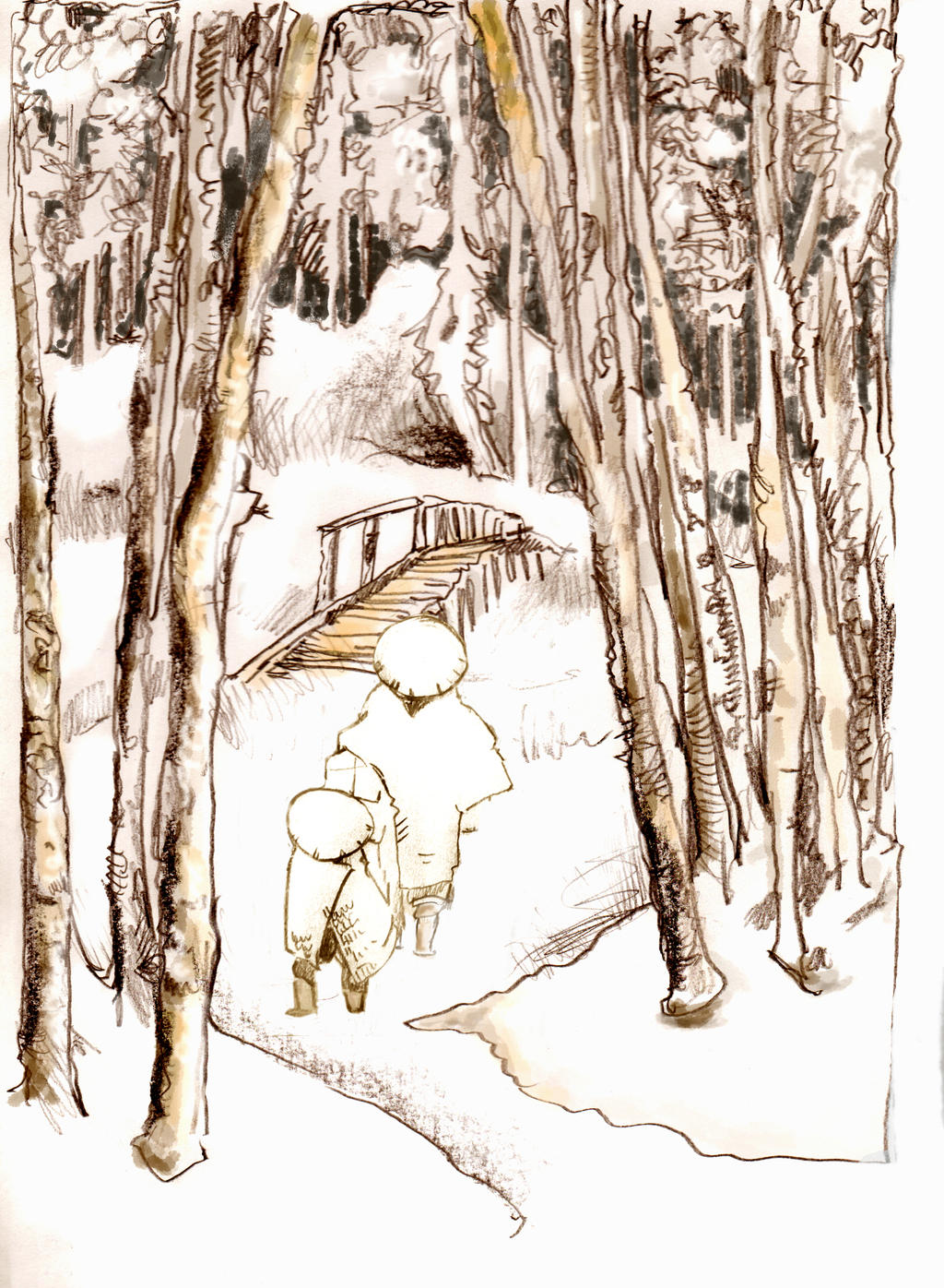 Figures in Snow  with Birch Trees