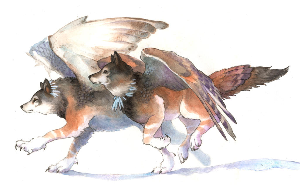Owl Wolves by seraphxviii