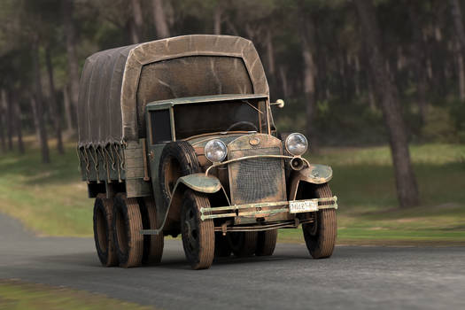 GAZ AAA CARGO TRUCK FRONT VIEW by sanchiesp