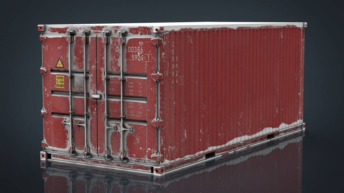Container Red with Snow by sanchiesp