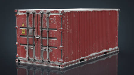 Container Red with Snow
