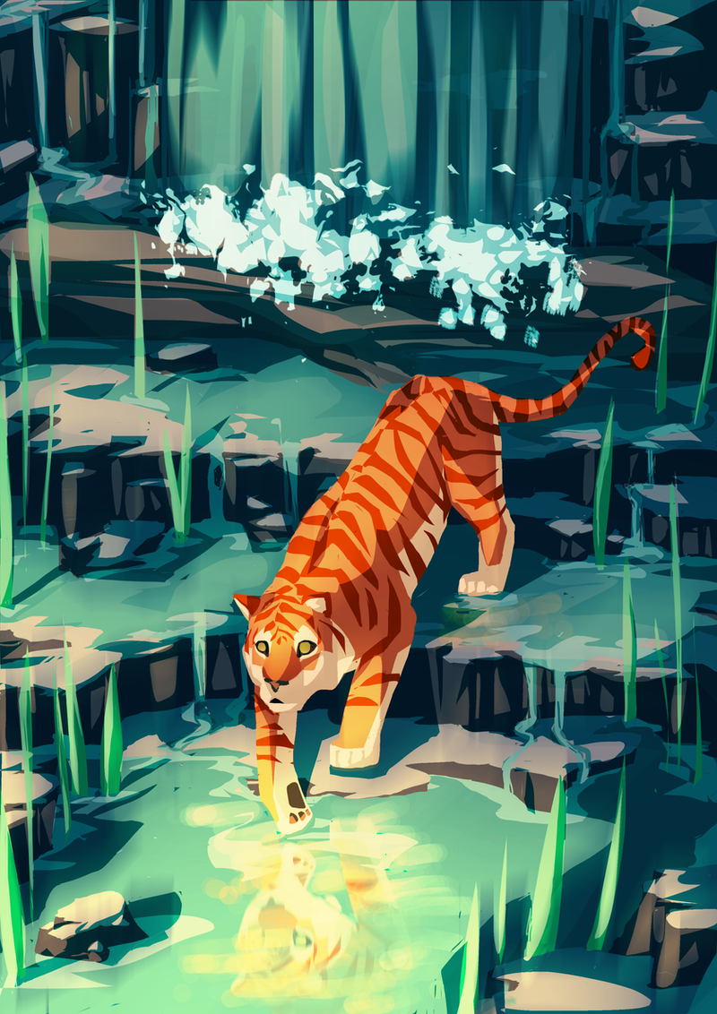 Golden Tiger, Photoshop, A4 Size : Art
