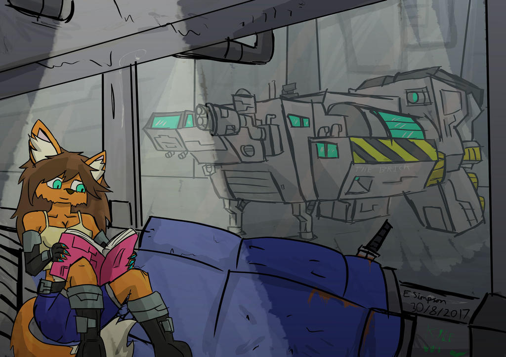 Eva and her ship by PlayerError404