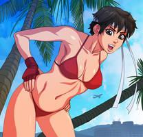 Sakura Kasugano: Red Bikini by ExMile