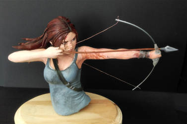 Lara Croft Tomb Raider Sculpture (Painted) by Pencilsketches