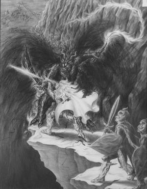 Glorfindel and the Balrog by claraval