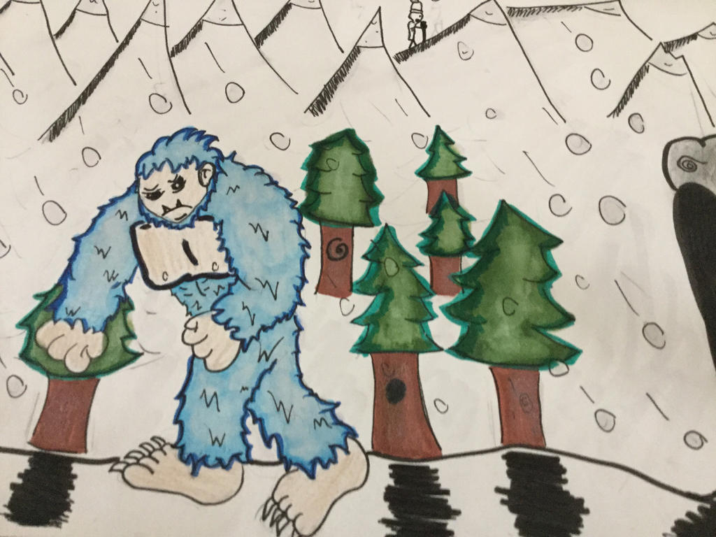Yeti in the snow by EricAnimates