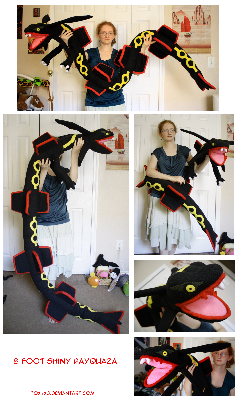 Shiny Rayquaza Plushie by Fox7XD