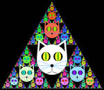 Cats stuck in a Sierpinski triangle by n-0-n-a