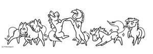 Dancing Ponies LINEART