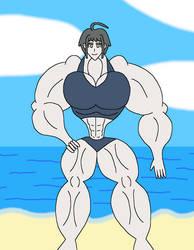 Muscle Beach Komaru by TaylorsToonAdventure