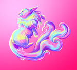Holographic Kitty - Daily Cat Drawing #85 by dailycatdraw