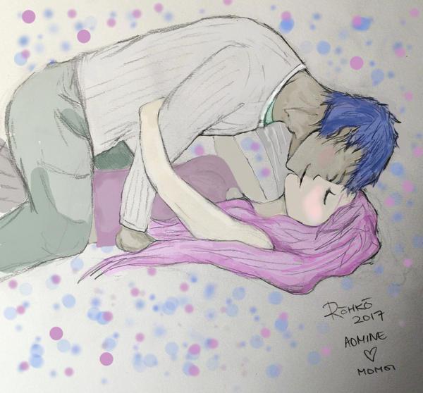 Aomine x Momoi kiss