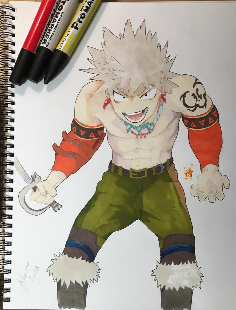 Kacchan with a sword