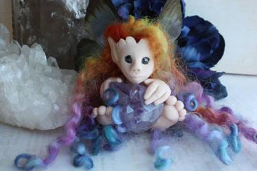 Ooak Rainbow haired fairy art doll by purpleravenwings