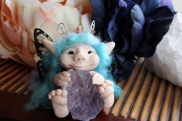 Blue Haired ooak fairy by purpleravenwings