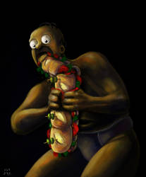 Homer Devouring a Sandwich (Goya's paint parody) by ugoyak
