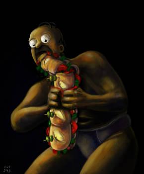 Homer Devouring a Sandwich (Goya's paint parody)