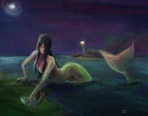 Mermaid fishing / Sirena pescando