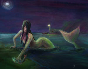 Mermaid fishing / Sirena pescando