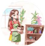 Shelf with flowers