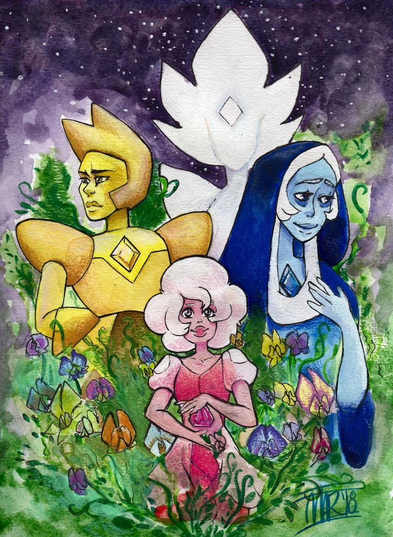 Continuing with overdue uploads, with April's piece, the Diamonds! (with flower, Sweet Peas!) For my Gems and Flowers Calendar project for 2018. I did go through some revisions to Pink Diamond afte...