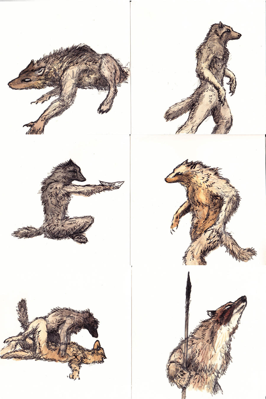 Werewolf sketches by Hyrotrioskjan